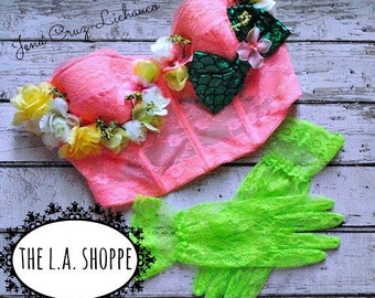 Peachy Kiwi Mermaid Flower Bustier Bra Top and Neon Green Gloves Set SIZE LARGE ONLY