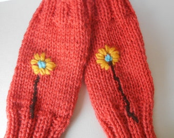 Sale knit fingerless gloves orange texting gloves hand mitts knit hand warmers flower embroidery gloves by Peace Stith Studio