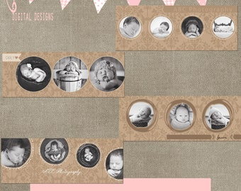 Facebook Timeline Circle Round Beige Damask Set of 4 Cover Collage Photographer Template PSD - Photo INSTANT DOWNLOAD cs and Elements
