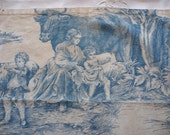 RESERVED FOR KATHRYN  Antique  french toile de jouy  French textile fine cotton blue toile de jouy