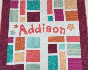 Personalized Baby Quilt Custom Baby Quilt Appliqued Name Quilt