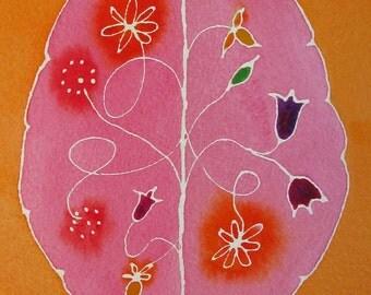 Wild Mind Garden 3 -  original watercolor painting of brain