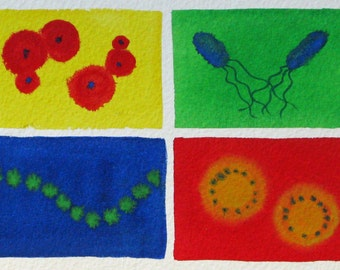 Bacteria Rainbow 31 - original watercolor painting - microbes
