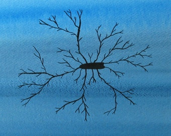 Black Microglia  - original watercolor of brain cell