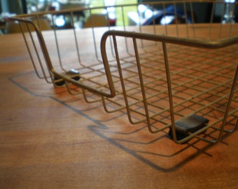 Vintage Mid Century Pair Of Industrial Wire Trays-Baskets