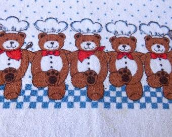 Vintage Set Teddy Bear TOWEL POT HOLDER Set Dish Towel Tea Towel Chef Can-Can