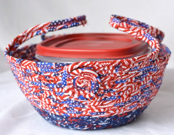 Patriotic Cookie Caddy, SALE.. Red White and Blue Party Bowl, Decorative Bowl, Picnic Basket, Labor Day Decoration, Cookout Dessert Carrier