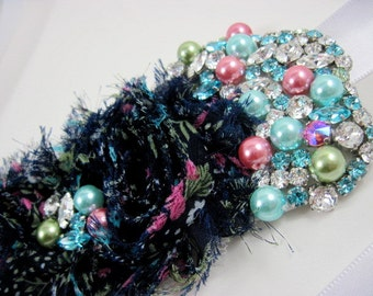 Blue floral bridal sash with crystals - sash for wedding dress - maternity sash - belts and sashes