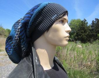 Big Oversized Dreadlock Tam Slouch Beanie Cotton Fair Isle Stripe Warm Winter Knit Dread Hat Big Head Thick Bulky  A1870