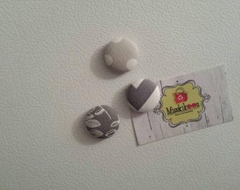 Kit de 3 aimants gris tissus récupérés