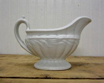 Early White Ironstone China Gravy Boat Bowl Wheat Design