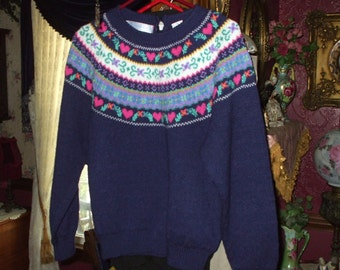 Southern Isles Vintage Sweater Hearts And Flowers 1980's Women's Large