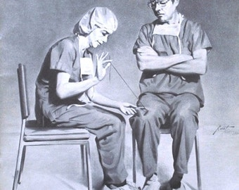 Nurse and Doctor 17 x 11 print (image 8.5 x 8.25) personally signed by artist RUSTY RUST / M-124-P