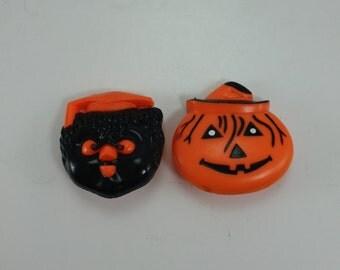 Vintage Halloween Clickers Pumpkin Jack O Lantern Owl Fun World Hong Kong - Set of 2
