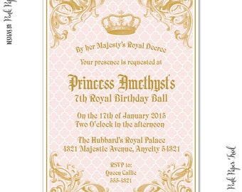 Royal Princess Invitation, I will customize for you, Print your own, Birthday, Bridal Shower, Baby Shower