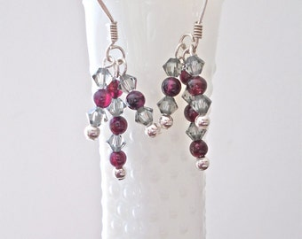 Smokey Swarovski and Ruby Garnet Dangle Earrings