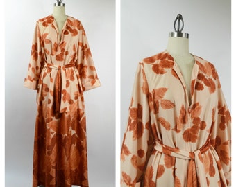 1970s Retro Robe Fall Leaves Rust Color Size Medium Size Large TV Loungers Polyester Zip Front Robe with Waist Tie