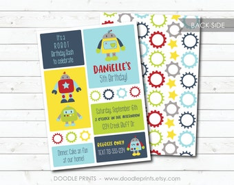 "Robot Invitation, Printable Robot Birthday Invitation, Robot Party Invite, Nuts and Bolts, Robot Birthday Party Invitation - 5x7"" 4x6"""