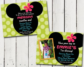 Luau Minnie Mouse Custom photo Birthday Invitations