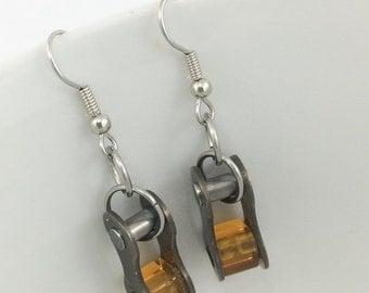 Amber bicycle jewelry recycled bike chain earrings, fixie earrings, mountain bike earrings, biking earrings, bike parts jewelry