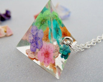 Pyramid Necklace, Rainbow Flower Necklace, Real Flower Necklace, Geometric Necklace, Resin Pyramid, Gift for Her