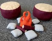 SALE, Kids Campfire and Log Seat Set, Mahogany Logs, Camping, Grey River Rock