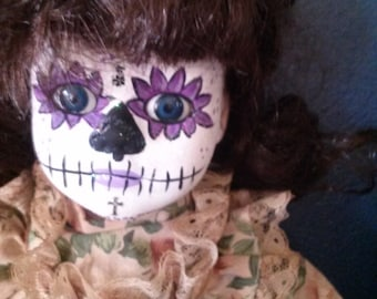 17in. hand painted one of a kind Day of The Dead dolls