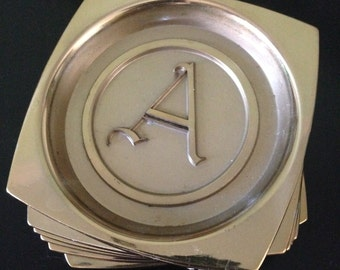 Hyde Park Monogramed Brass (A) Coasters