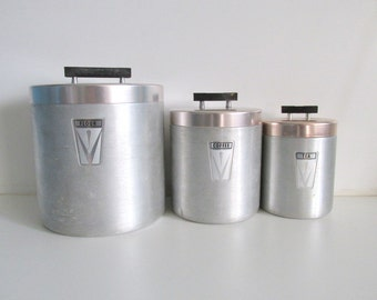 Mid-Century Stainless 3 Set Canisters