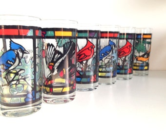 Vintage Stained Glass Bird Glasses - Set of 6