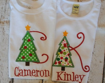 Christmas Tree Initial Embroidered Personalized Shirt or Bodysuit