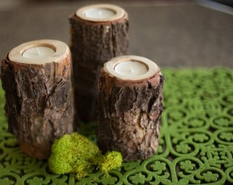 Wood Candle Holders- set of 3