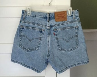 Vintage 80's 90s Revival Grunge Light Blue LEVIS Denim Jean Cut Off Festival Shorts 30
