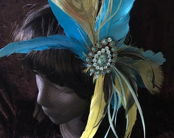 "Turquoise And Chartreuse Green Feather Fairy Gypsy BOHO Hair Flair, Hair Jewelry Clip ""So Into You"""