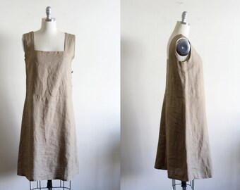 Vintage Loose Linen Dress / Market Dress / Modern and Minimal / Natural / M