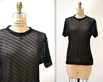Vintage 90s Black Tee Shirt Size Large 90s Minimalist Shirt Sheer Mesh Stripe 90s Club Shirt