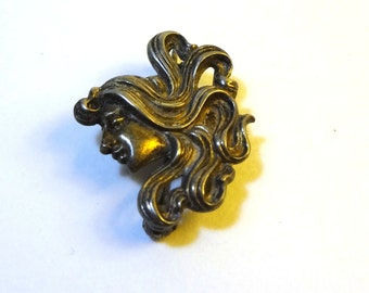 Antique Art Nouveau Maiden head brooch with pendant clasp, Rare, collectible piece