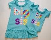 READY TO SHIP Size 4 Big Sister Dress & 6m Little Sister Bodysuit Big Sis Lil Sis Set Aqua Rainbow Tunic Sister Shirts