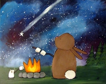Kids Nursery Art Print 8 x 10, Camping Childrens Room Decor, Bunny Rabbit Mouse Campfire Roasting Marshmallows Whimsical Baby Artwork, Stars