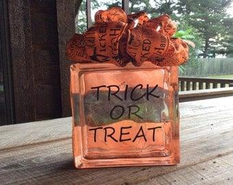 Halloween Glass Block, Glass Block, Halloween Decor, Trick or Treat, Glass Block, Glass Block with Lights