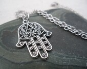 Silver Hamsa Necklace - Hand of Fatima - Evil Eye - Silver Hand Pendant - Protection