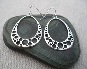 Silver Modern Hoop Earrings - Silver Statement Earrings - Simple Everyday Silver Earrings