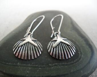 Silver Shell Earrings - Silver Seashell Earrings - Starfish Earrings - Ocean Sealife Jewelry