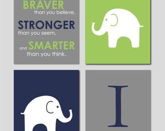 "Elephant Nursery Decor, Elephant Nursery Art, Always Remember You Are Braver, Navy Nursery Decor, Baby Boy Nursery Wall Art, Four 8""x10""s"