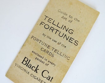 Vintage Black Cat Telling Fortunes Instruction Booklet Download, Digital Jpeg Download, Instructions Only, Carreras LeNormand Tarot