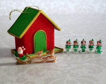 Kawaii Holiday reindeer, Vintage Mini Glitter House Craft Kit w Reindeer and Elves,  Vintage Holiday Crafts Glitter Putz House Supply