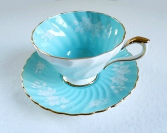 Aqua w White Roses Tea Cup and Saucer, Vintage Aynsley Turquoise Teacup Set w White Roses, Vintage Cups and Saucers in Pastel Blue