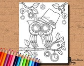 INSTANT DOWNLOAD Coloring Page Steampunk Owl Art Coloring Print, doodle art, printable