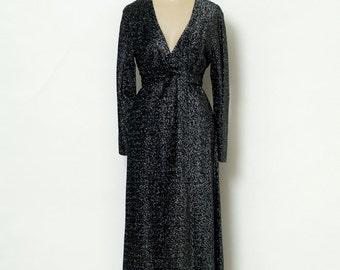 Vintage 70s Maxi Dress / Disco / Vintage Dress / Metallic dress / retro / 1970s / Dress Long / party / Black dress / disco dress / Dresses