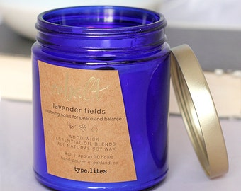 lavender fields wooden wick soy candle - cobalt by type.lites